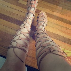 Tan faux leather knee high sandals
